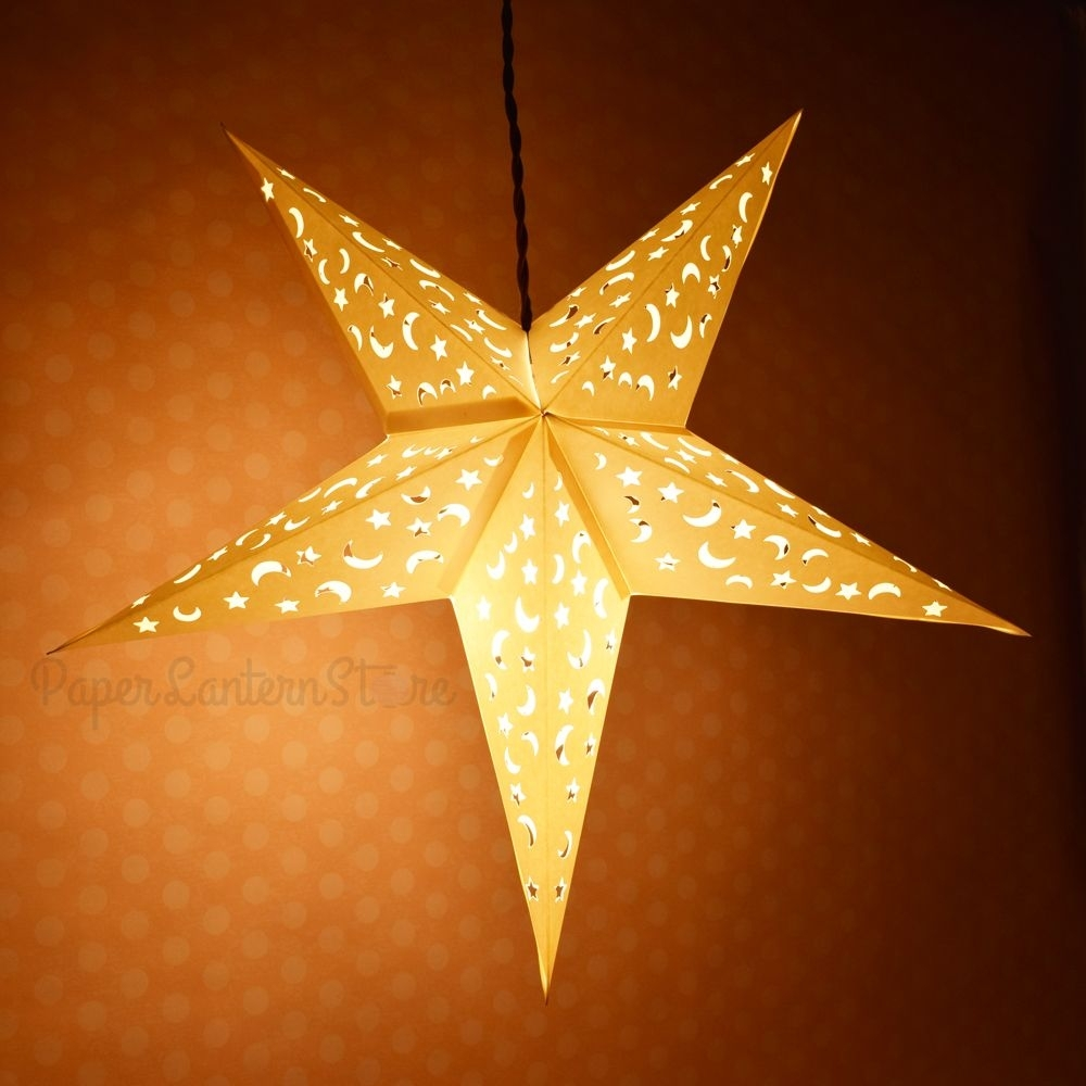 "Inspiration about 24"" White Star Moon Cut Out Paper Star Lantern, Hanging Decoration Inside Outdoor Hanging Star Lanterns (#14 of 15)"