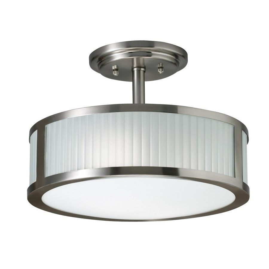 Inspiration about 3 Light Allen + Roth 13 In Brushed Nickel Frosted Glass Semi Flush In Brushed Nickel Outdoor Ceiling Lights (#11 of 15)