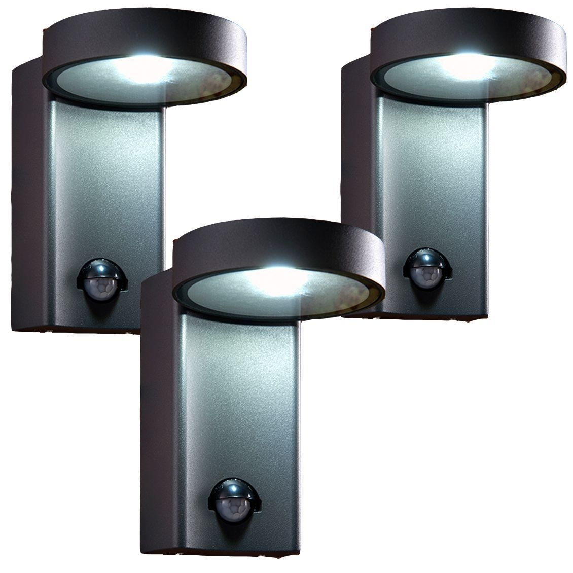 3 X Saxby 67696 Oreti Pir Dark Matt Anthracite 10W Ip44 Outdoor Wall Throughout Outdoor Pir Wall Lights (#1 of 15)