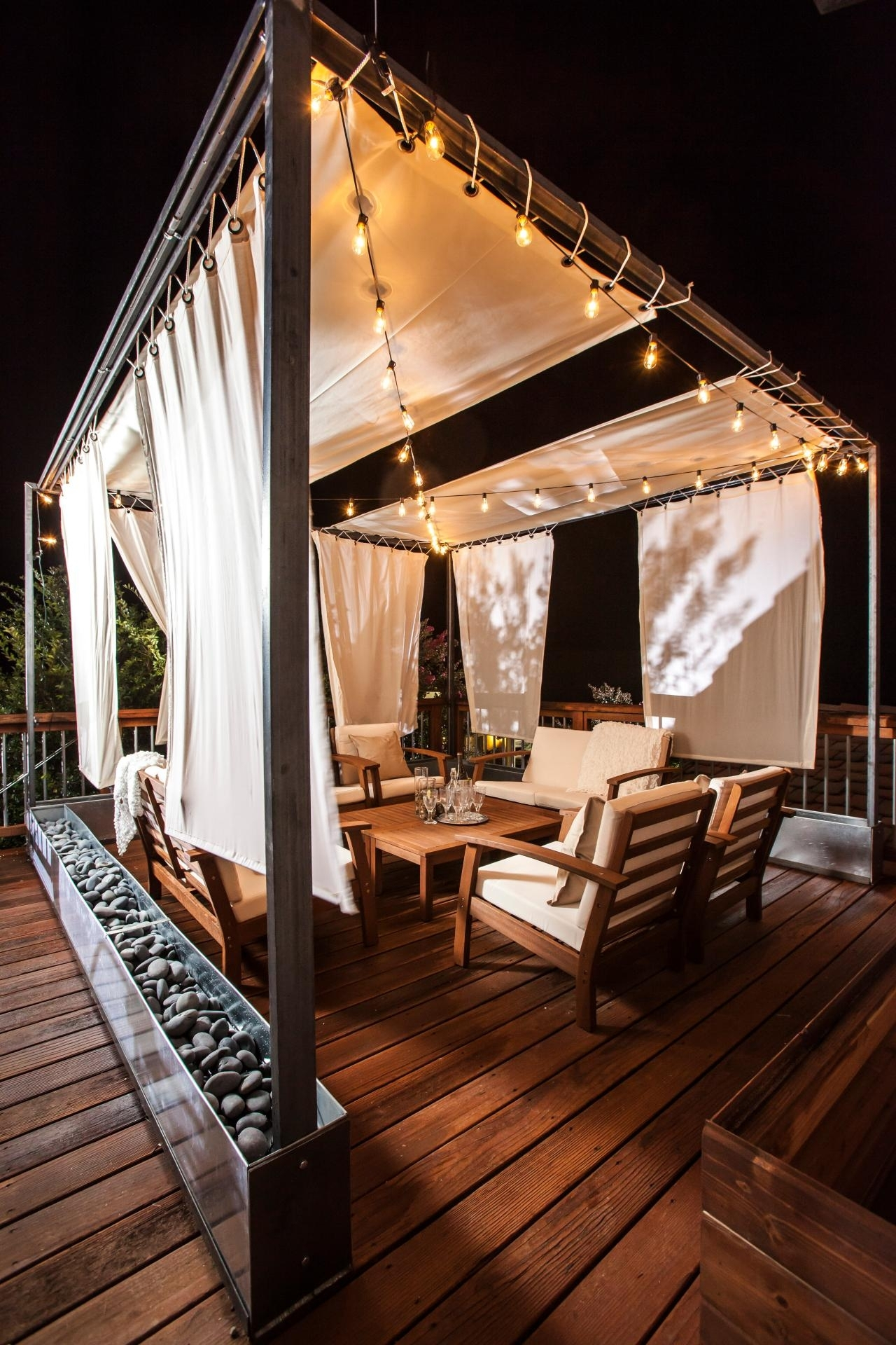 36 Ways To Amp Up Your Outdoor Space With String Lights | Hgtv's Within Outdoor Hanging Gazebo Lights (View 7 of 15)