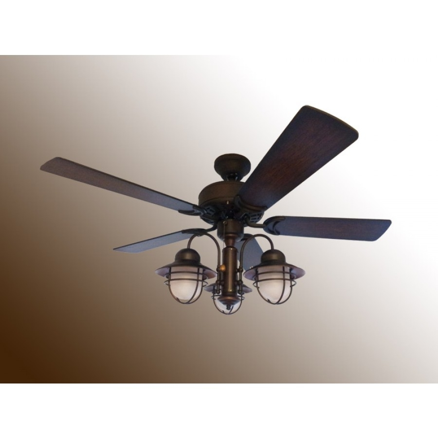 "42"" Nautical Ceiling Fan With Light – Outdoor Dixie Belle With Outdoor Ceiling Nautical Lights (#1 of 15)"