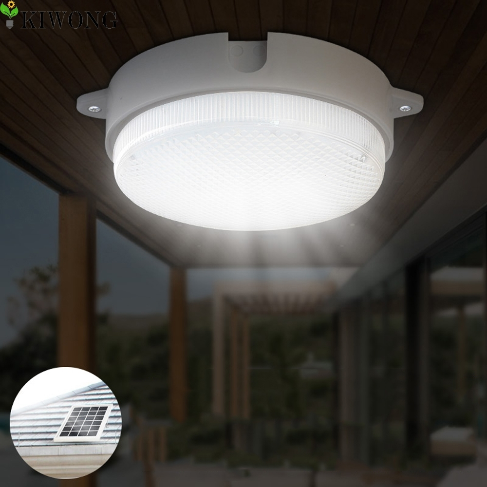 4W Round Solar Light Outdoor Led Ceiling Lamp Garden Street Lights 9 For Round Outdoor Ceiling Lights (#1 of 15)