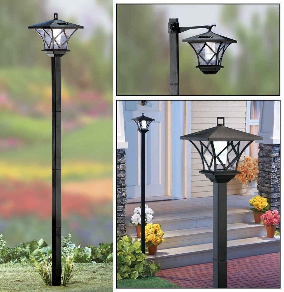 Inspiration about 5 Ft. Tall Solar Powered 2 In 1 Outdoor Garden Lantern Lamp Post Within Contemporary Led Post Lights For Mini Garden (#3 of 15)