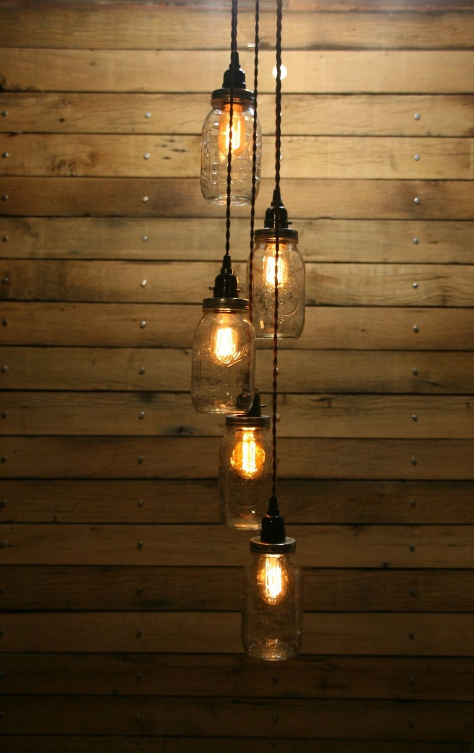 Inspiration about 5 Jar Pendant Light – Mason Jar Chandelier Light – Staggered Length For Unique Outdoor Hanging Lights (#7 of 15)