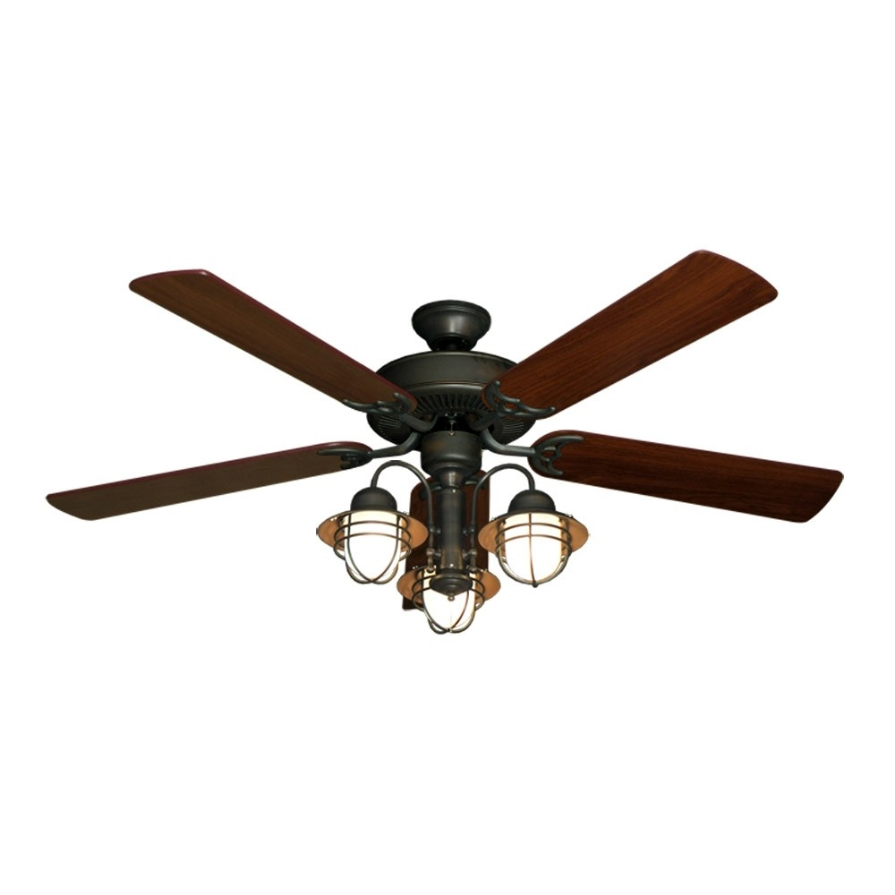 "52"" Nautical Ceiling Fan With Light – Oil Rubbed Bronze – Unique Styling Throughout Bronze Outdoor Ceiling Fans With Light (#2 of 15)"