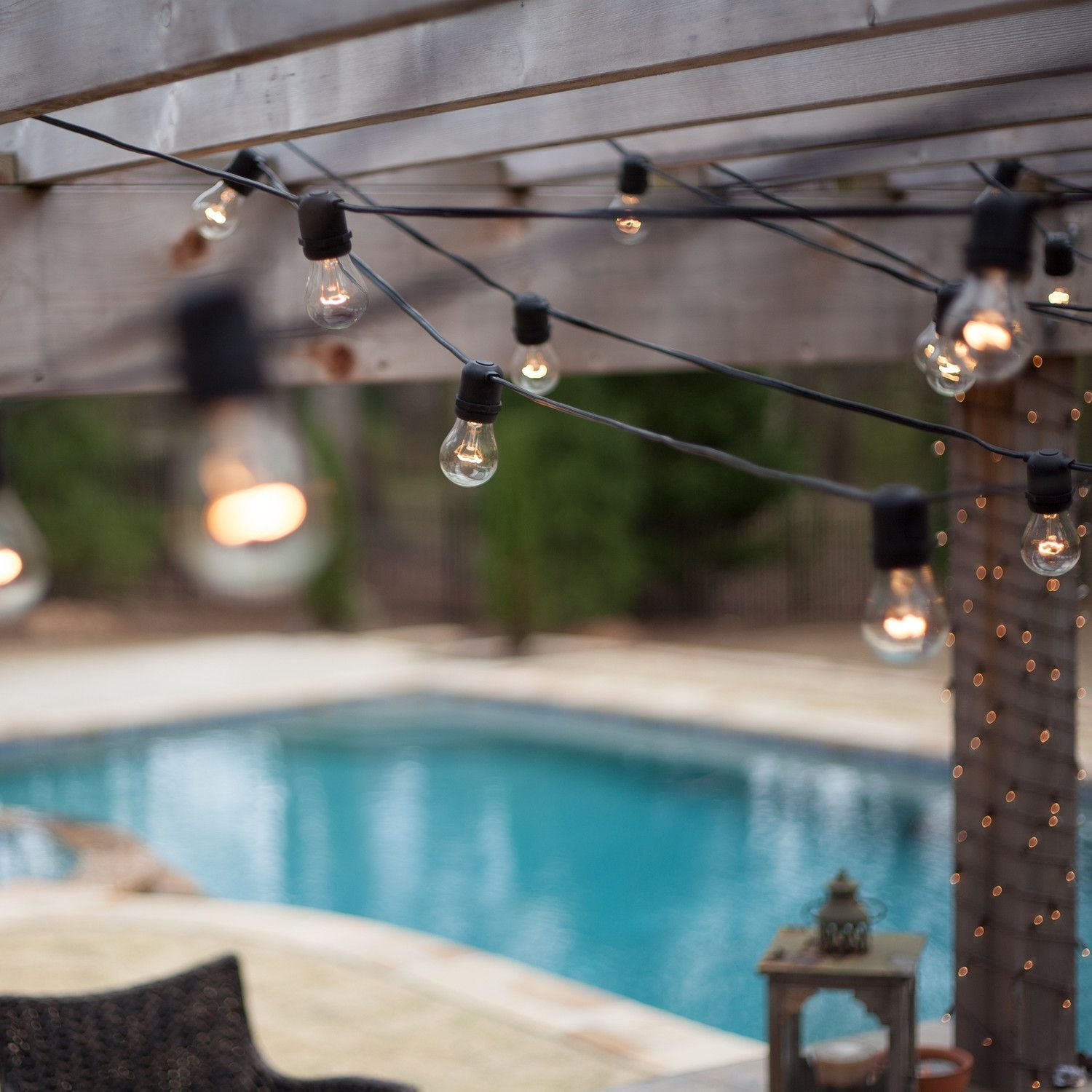 54' Commercial Patio String With 24 A15 Clear Outdoor Patio Lights In Outdoor Hanging Pool Lights (#1 of 15)
