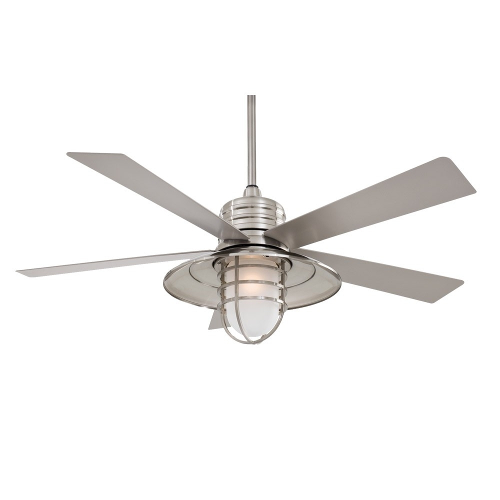 "Inspiration about 54"" Minka Aire Rainman Ceiling Fan – Outdoor Wet Rated – F582 Bnw Inside Outdoor Ceiling Fan Lights (#5 of 15)"