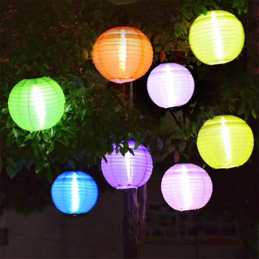 Inspiration about 5Pcs Outdoor 25Cm Big Lantern Ball Solar Hanging Landscape Lamps In Big Outdoor Hanging Lights (#5 of 15)