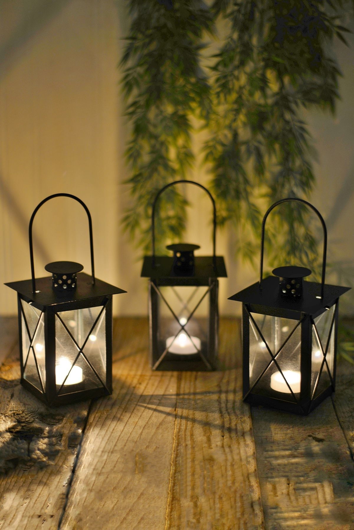 Inspiration about 6 Black Metal & Glass Tealight Candle Lanterns 5 1/2"