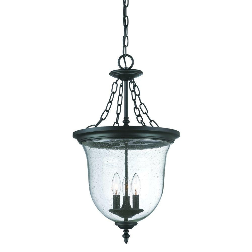 Acclaim Lighting Belle Collection 3 Light Matte Black Outdoor Pertaining To Outdoor Hanging Lighting Fixtures At Home Depot (#1 of 15)
