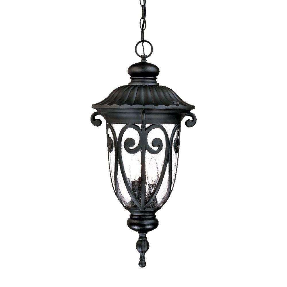 Acclaim Lighting Naples Collection 3 Light Matte Black Outdoor Inside Outdoor Hanging Light Fixtures In Black (View 7 of 15)
