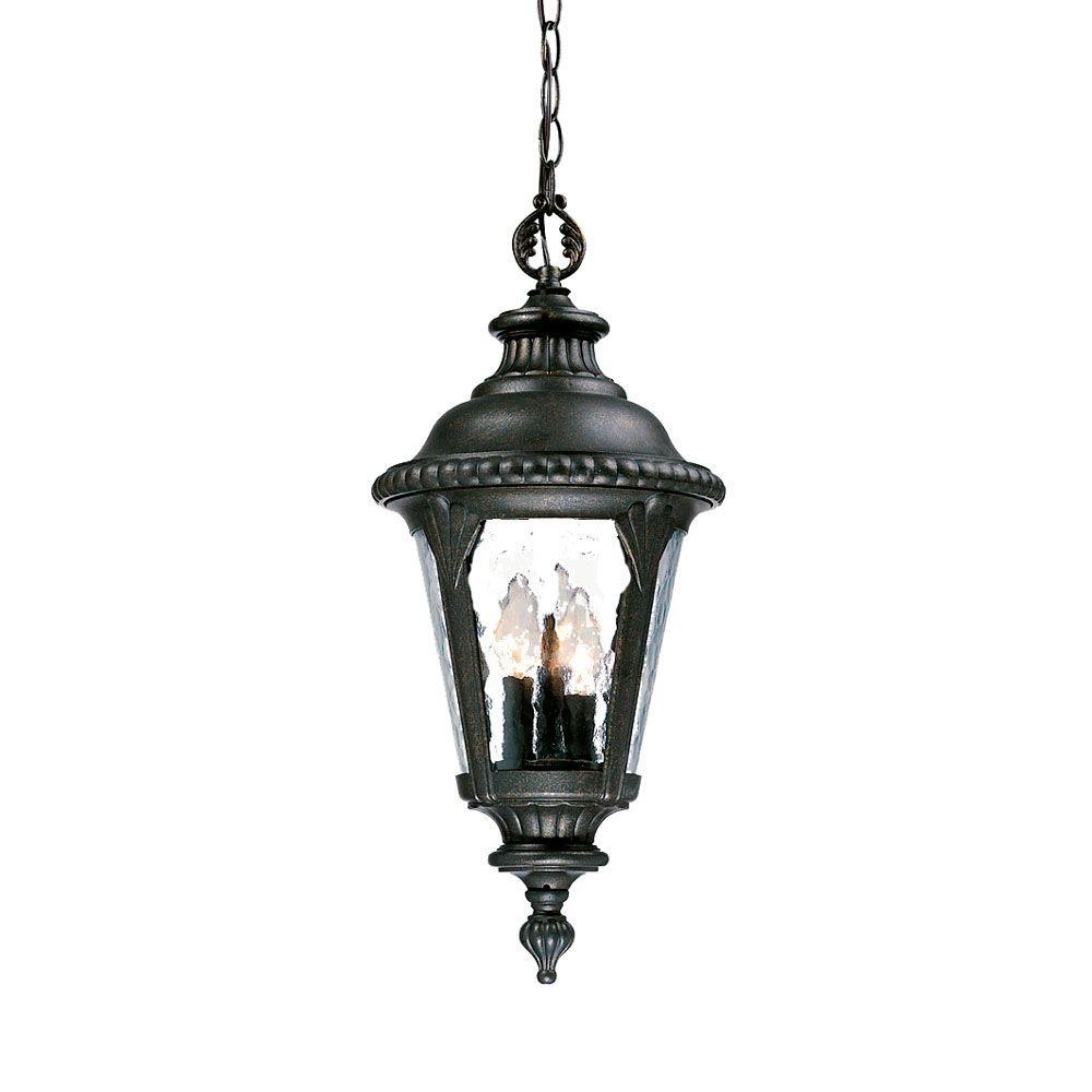 Acclaim Lighting Surrey Collection 3 Light Black Gold Outdoor Throughout Outdoor Hanging Light Fixtures In Black (View 4 of 15)