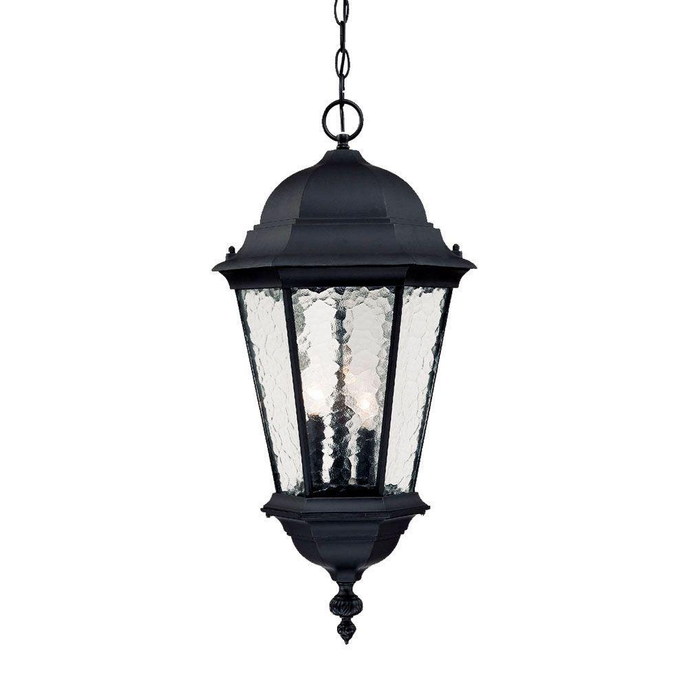 Acclaim Lighting Telfair Collection 3 Light Matte Black Outdoor In Outdoor Hanging Light Fixtures In Black (#5 of 15)