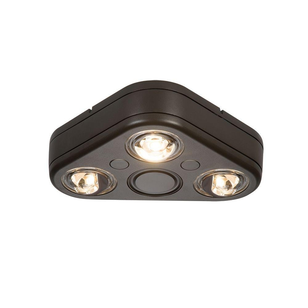 All Pro Revolve Bronze Triple Head Outdoor Integrated Led Security Inside Outdoor Ceiling Security Lights (#1 of 15)