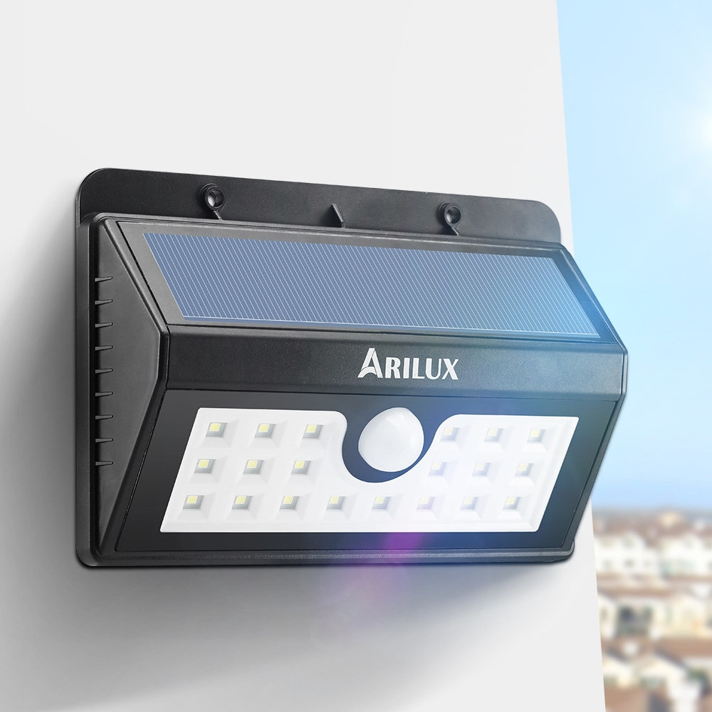 Arilux™ Al Sl02 Wireless Solar Powered 20 Led Waterproof Pir Motion Regarding Johannesburg Outdoor Wall Lights (View 6 of 15)