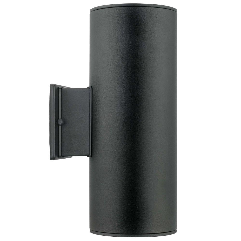 Ascoli 2 Light Black Outdoor Wall Mount Light 200147A – The Home Depot Regarding Dusk To Dawn Outdoor Wall Lighting Fixtures (#1 of 15)