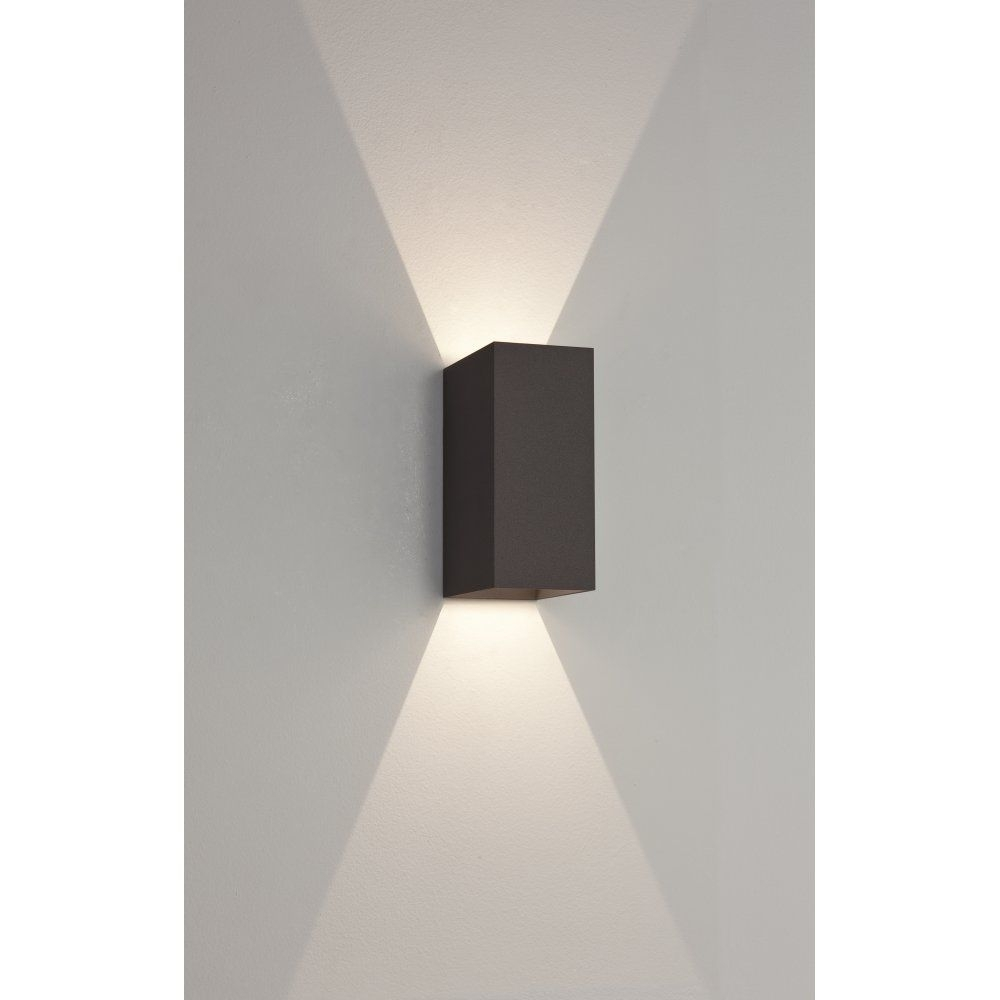 Astro 7061 Oslo 160 2 Light Led Outdoor Wall Light Ip65 Black | 9Th Inside Outdoor Wall Sconce Led Lights (#2 of 15)
