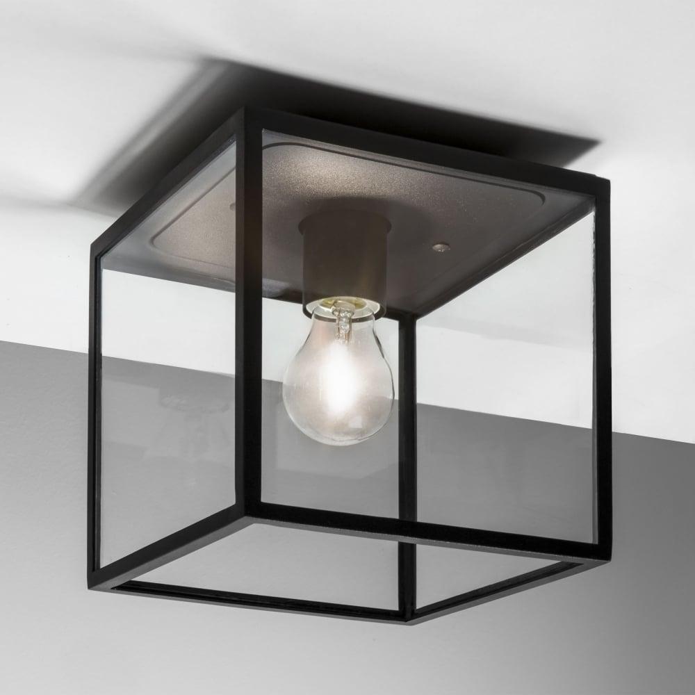 Astro Lighting 7389 Box Black Exterior Ceiling Light Inside Black Outdoor Ceiling Lights (#3 of 15)