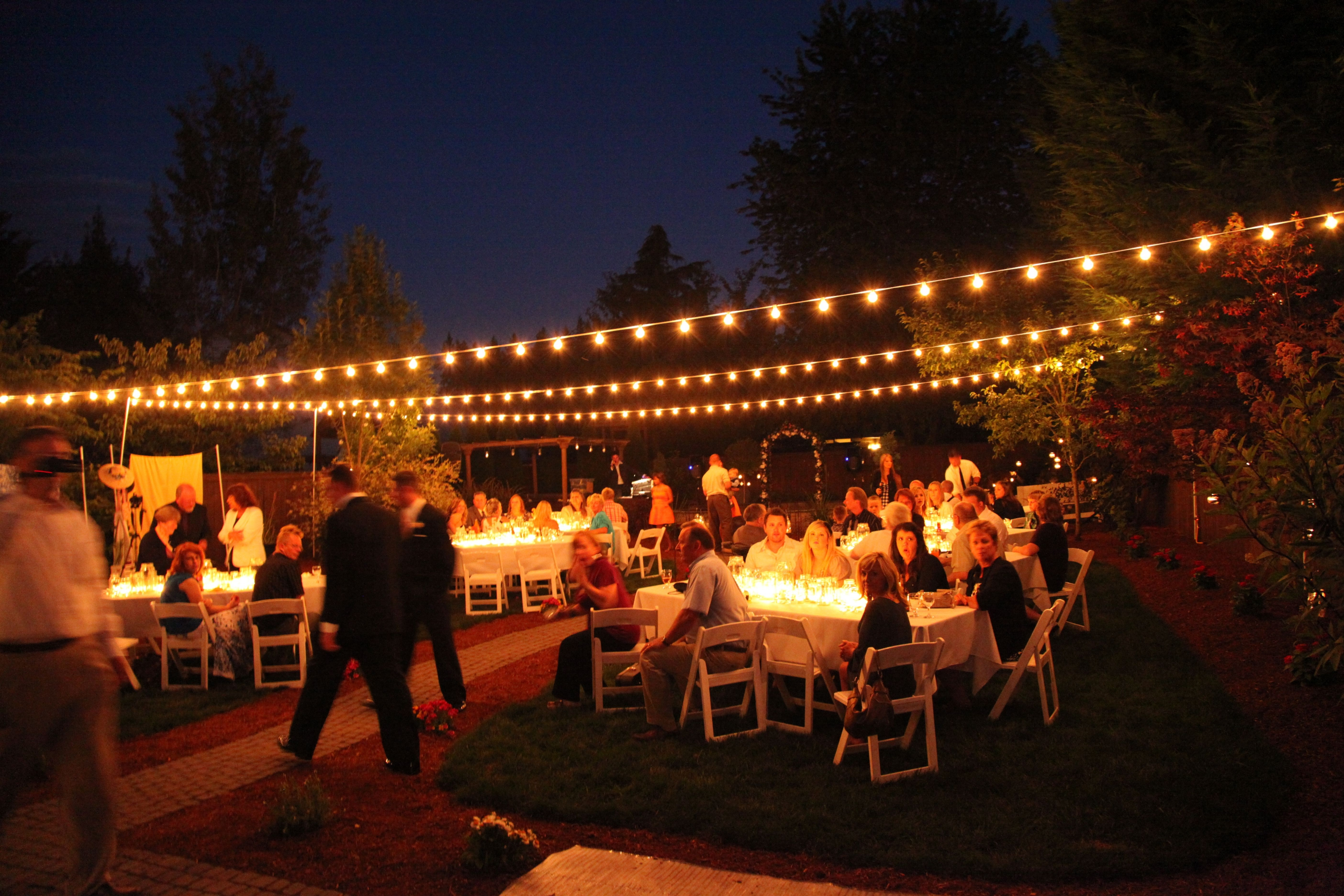Backyard ~ Backyard Party Lights | Backyard Ideas Regarding Backyard Throughout Hanging Lights For Outdoor Wedding (#4 of 15)