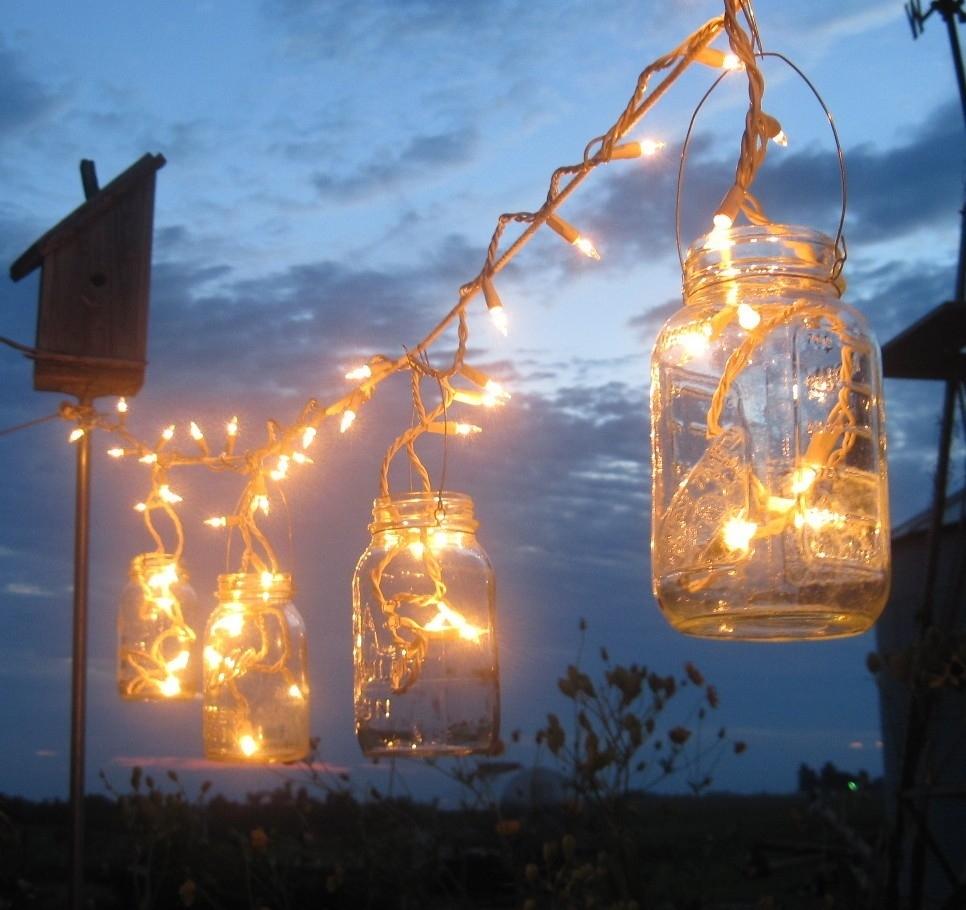 Backyard Outdoor Lighting Ideas With Diy Mason Jar Candle Holder For Diy Outdoor Hanging Lights (#3 of 15)