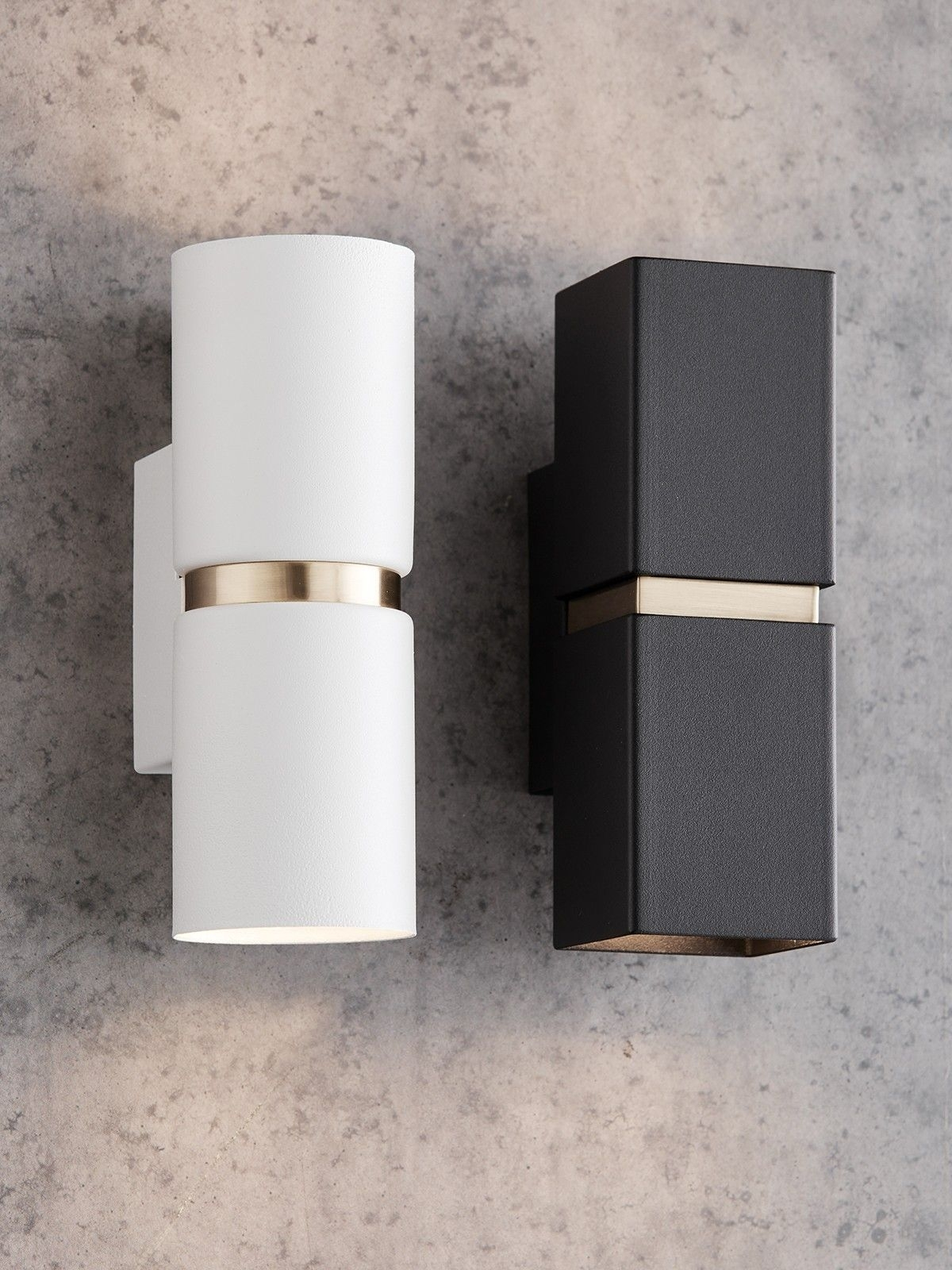 Baristo 2 Light Up/down Round Wall Bracket In White/brass | Powder With Beacon Outdoor Wall Lighting (#1 of 15)