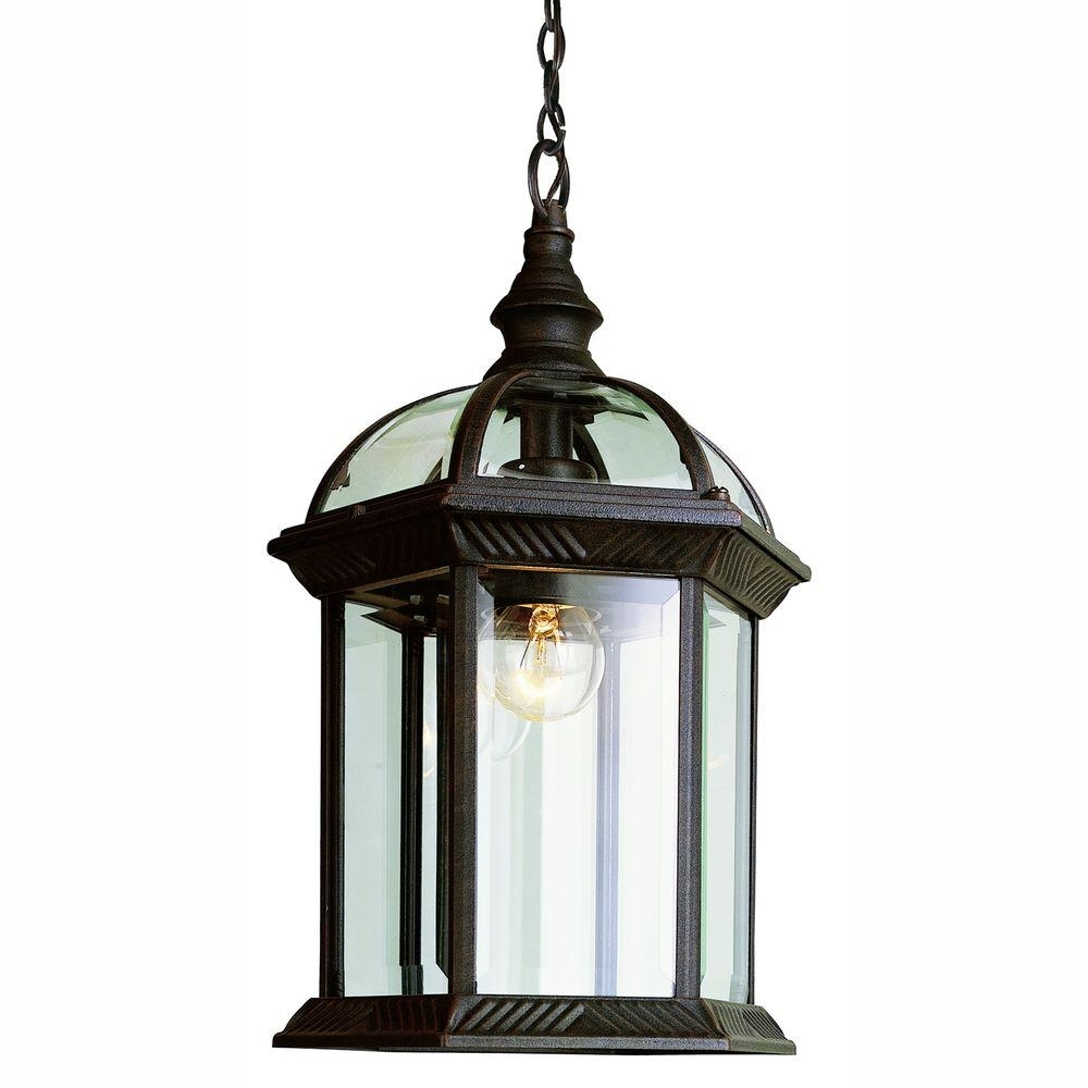 Bel Air Lighting Atrium 1 Light Outdoor Hanging Black Lantern With Pertaining To Outdoor Hanging Lamps Online (#5 of 15)