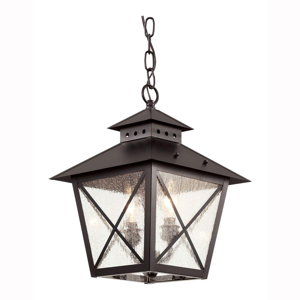 Bel Air Lighting Farmhouse 2 Light Outdoor Hanging Black Lantern In Outdoor Hanging Glass Lights (#1 of 15)