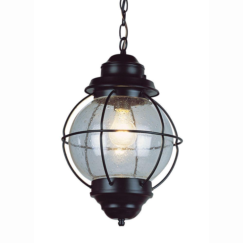 Bel Air Lighting Lighthouse 1 Light Outdoor Hanging Black Lantern With Outdoor Hanging Lantern Lights (View 15 of 15)