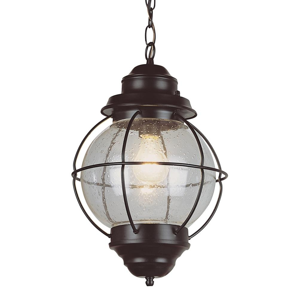 Bel Air Lighting Lighthouse 1 Light Outdoor Rustic Bronze Hanging Intended For Outdoor Hanging Glass Lights (#2 of 15)