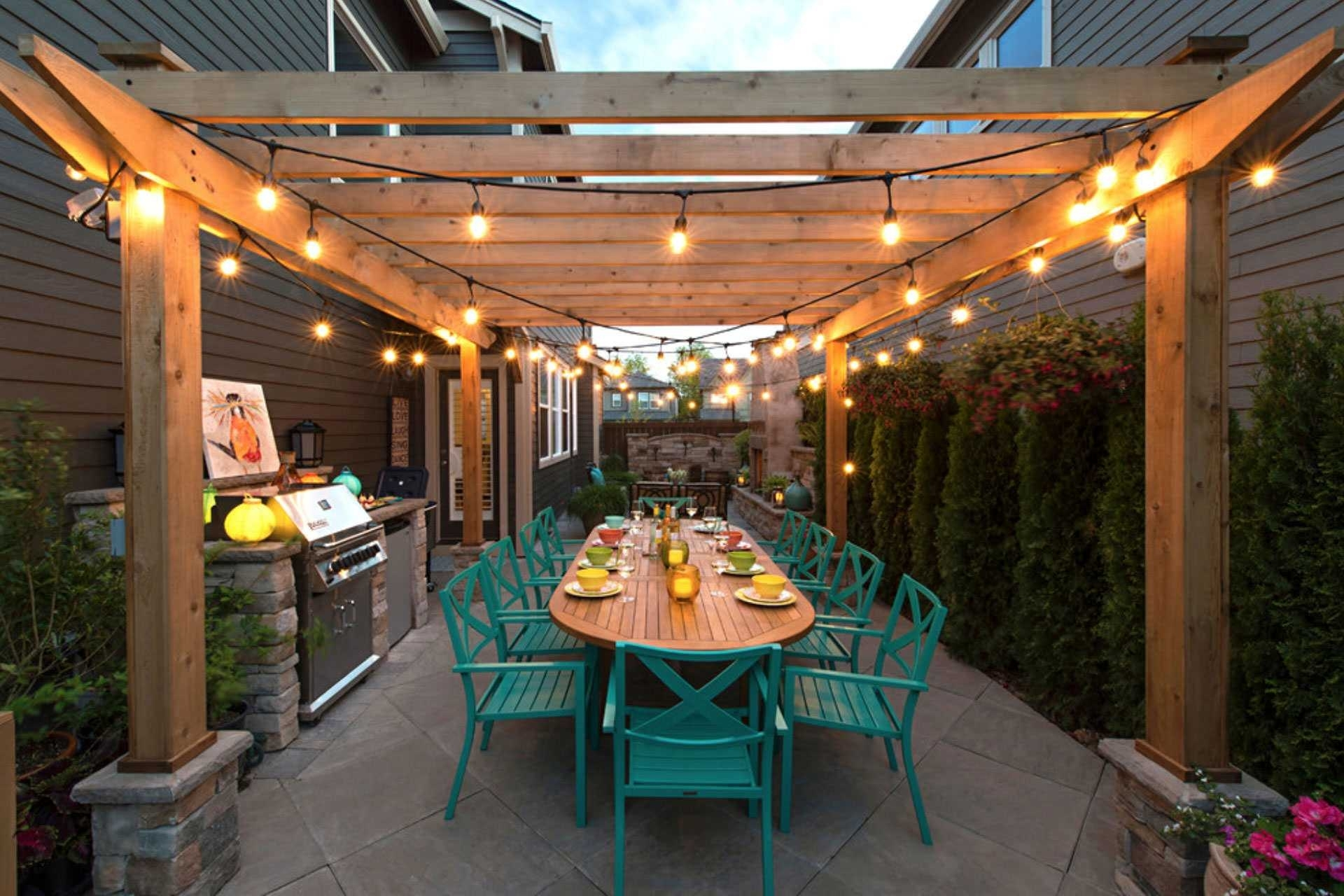 Best Way Hang Outdoor String Lights Wire 2018 Also Stunning Five With Outdoor Hanging Lights For Pergola (#3 of 15)