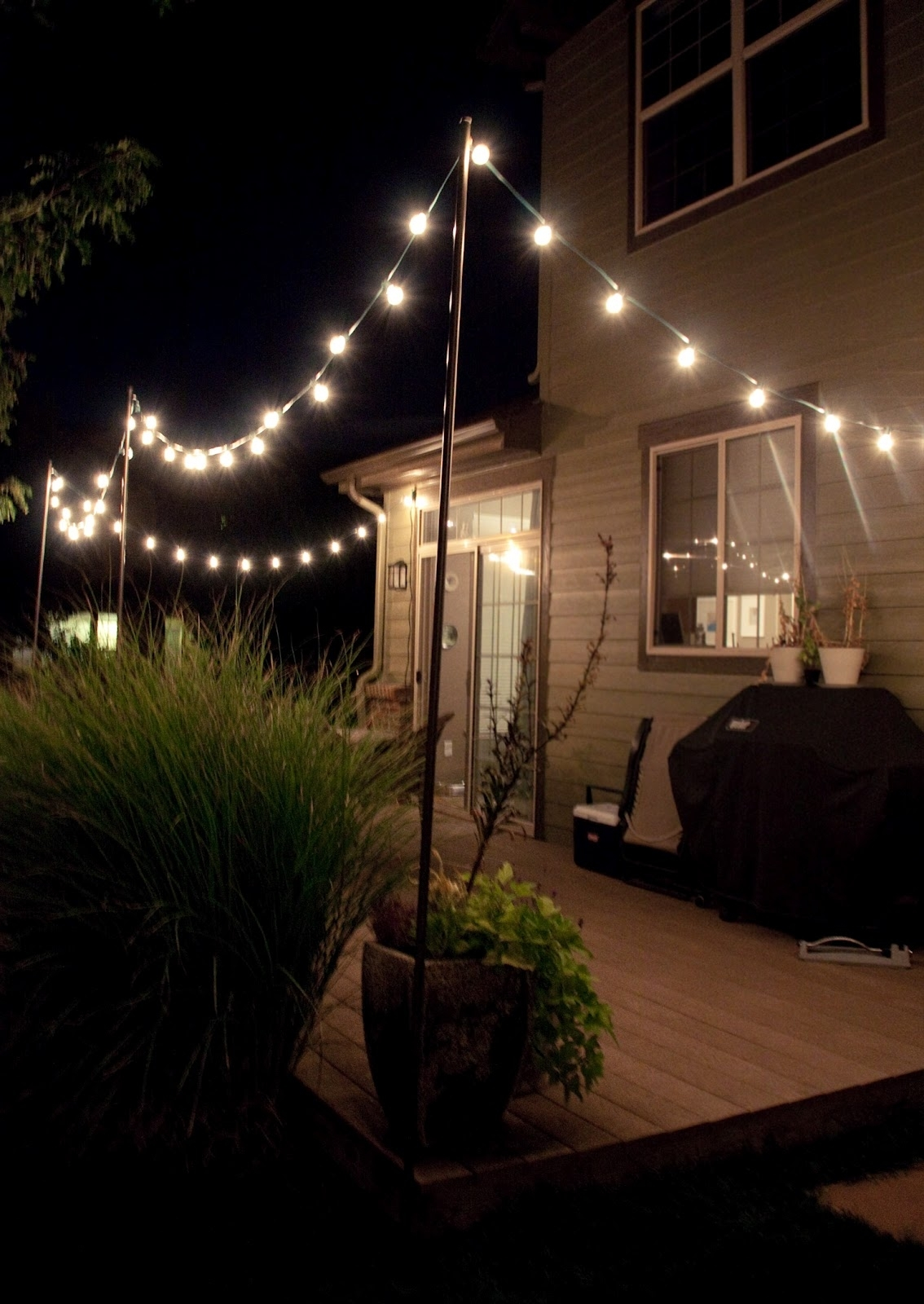 Bright July: {Diy}: Outdoor String Lights Intended For Hanging Outdoor Light On Rod (#2 of 16)