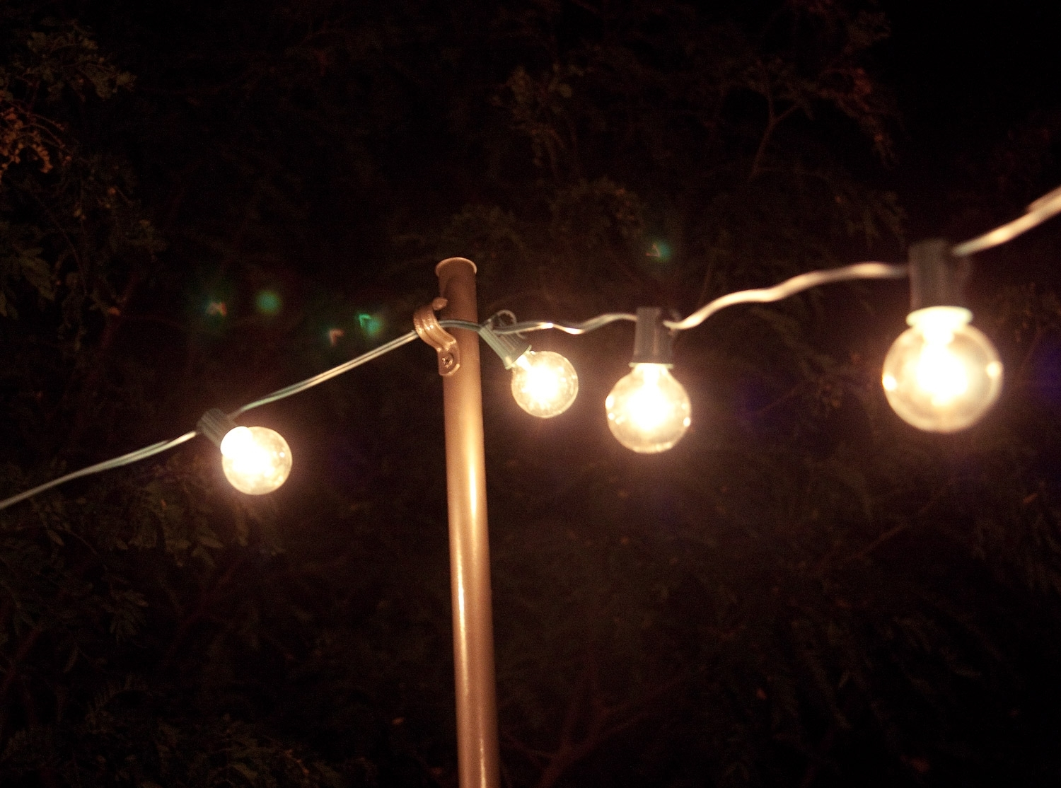 Bright July: {Diy}: Outdoor String Lights With Hanging Outdoor Light On Rod (#3 of 16)