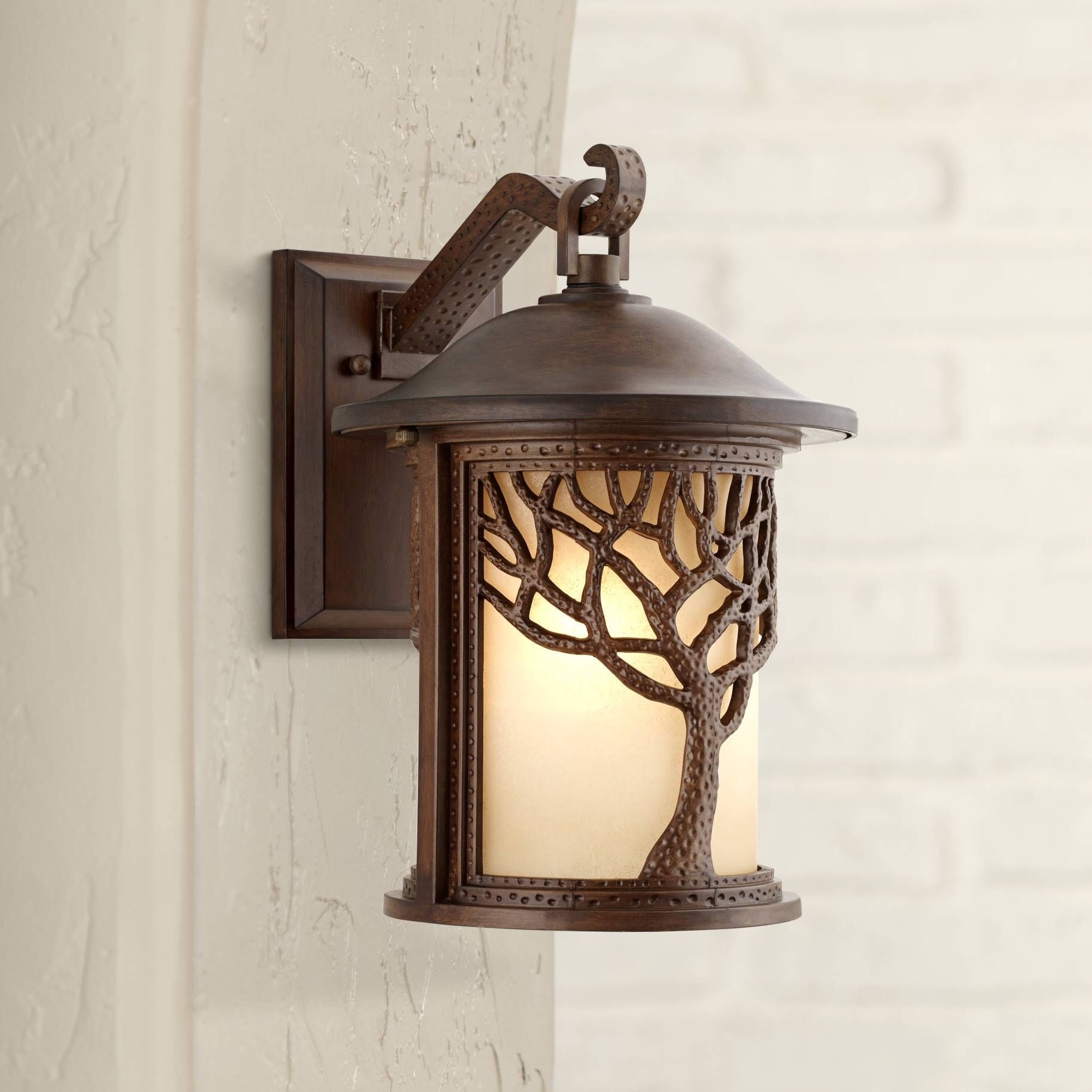 "Bronze Mission Style Tree 15"" High Outdoor Wall Light 