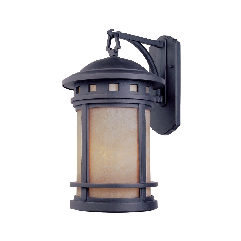 Bronze Outdoor Wall Lantern With Amber Glass | 2371 Am Mp With Regard To Mission Style Outdoor Wall Lighting (#2 of 15)