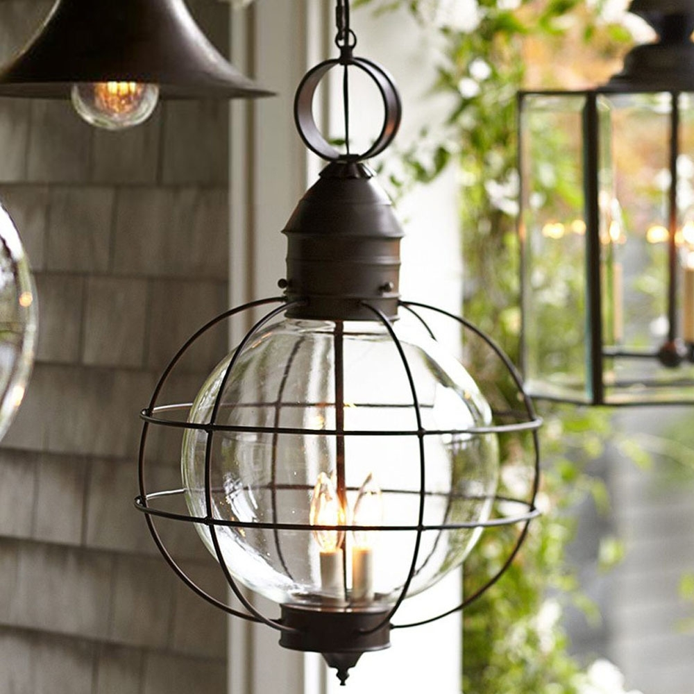 Popular Photo of Outdoor Hanging Glass Lights
