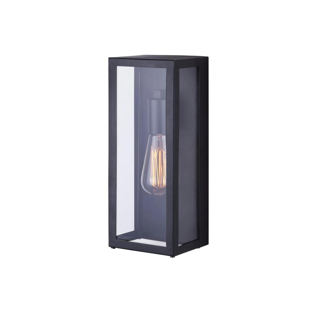 Canarm Galia 1 Light Black Outdoor Wall Light With Clear Glass Intended For Outdoor Wall Lights In Black (#7 of 15)