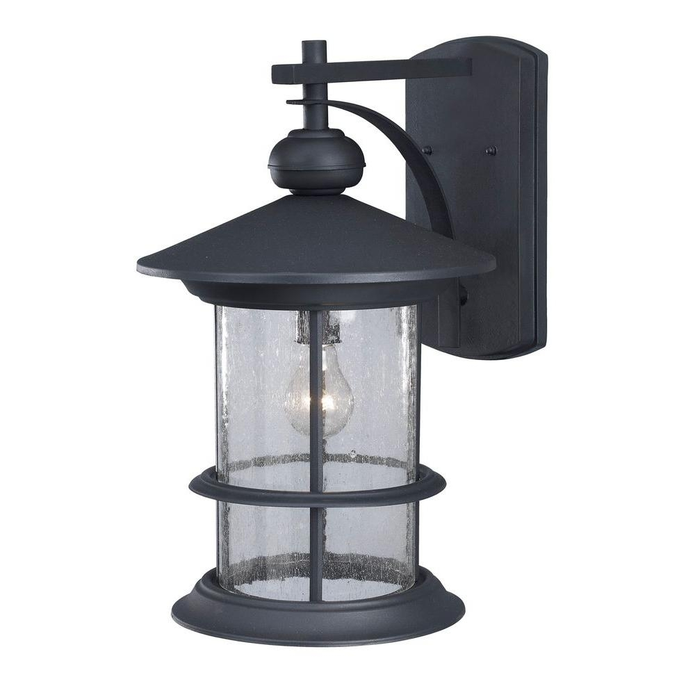 Canarm Ryder 1 Light Black Outdoor Wall Lantern With Seeded Glass With Regard To Outdoor Wall Light Glass (#3 of 15)