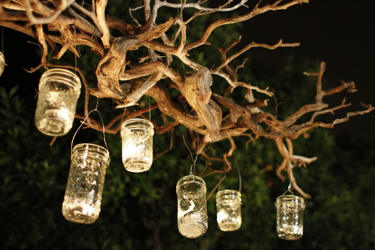 Capture The Light With A Diy Outdoor Mason Jar Chandelier With Outdoor Hanging Tree Lights (View 9 of 15)