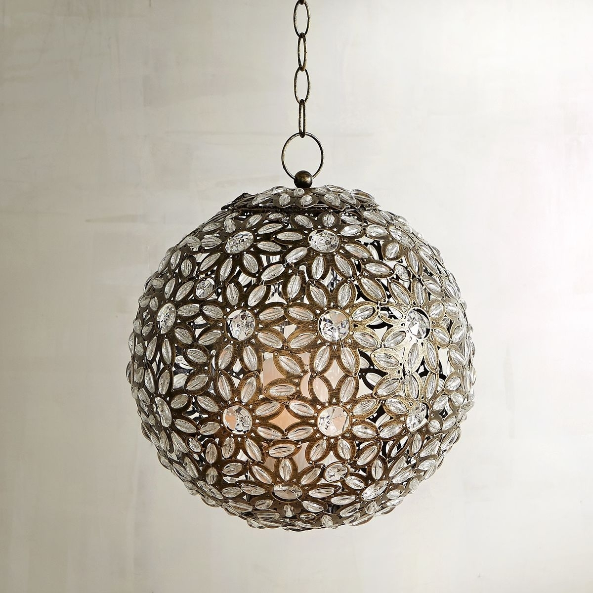Caravan Clear Gem Round Hanging Lantern | Pier 1 Imports | Boho Bath Pertaining To Round Outdoor Hanging Lights (View 9 of 15)