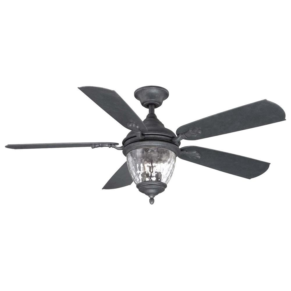 Ceiling Fan: Outstanding Black Outdoor Ceiling Fans With Lights Pertaining To Black Outdoor Ceiling Fans With Light (#4 of 15)