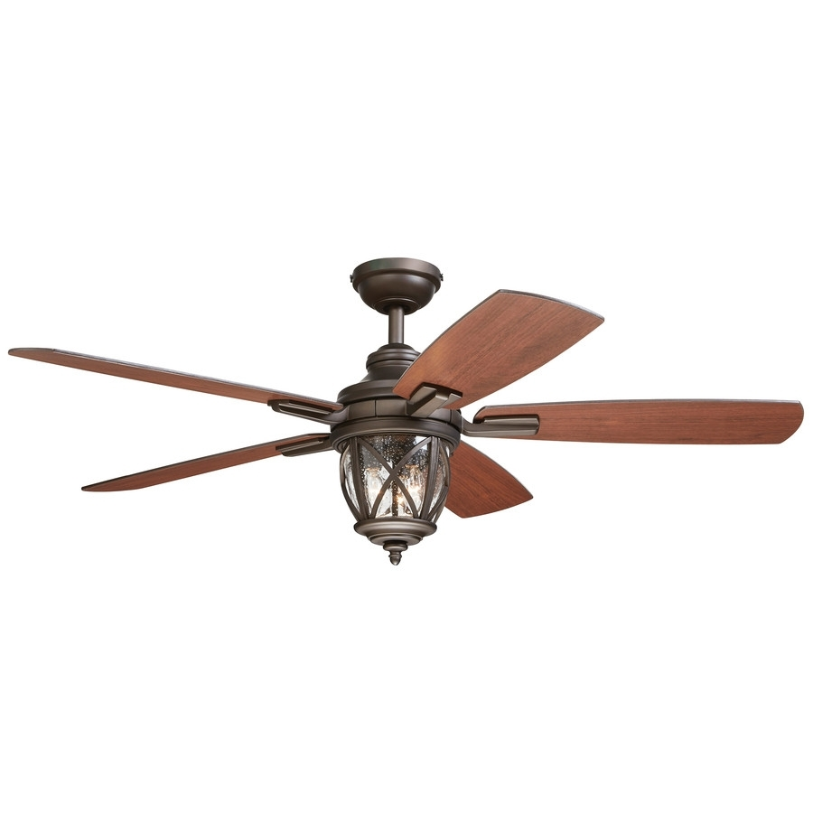 Ceiling Fan ~ Shop Harbor Breeze Merrimack In White Indooroutdoorsh Within Outdoor Ceiling Fans With Flush Mount Lights (#2 of 15)
