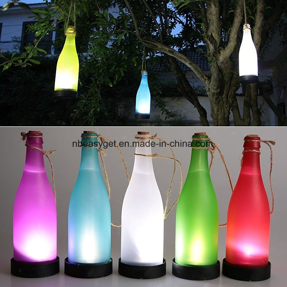 China Plastic Led Solar Bottle Lights Wine Bottle Light Garden Intended For Outdoor Plastic Hanging Lights (#4 of 15)