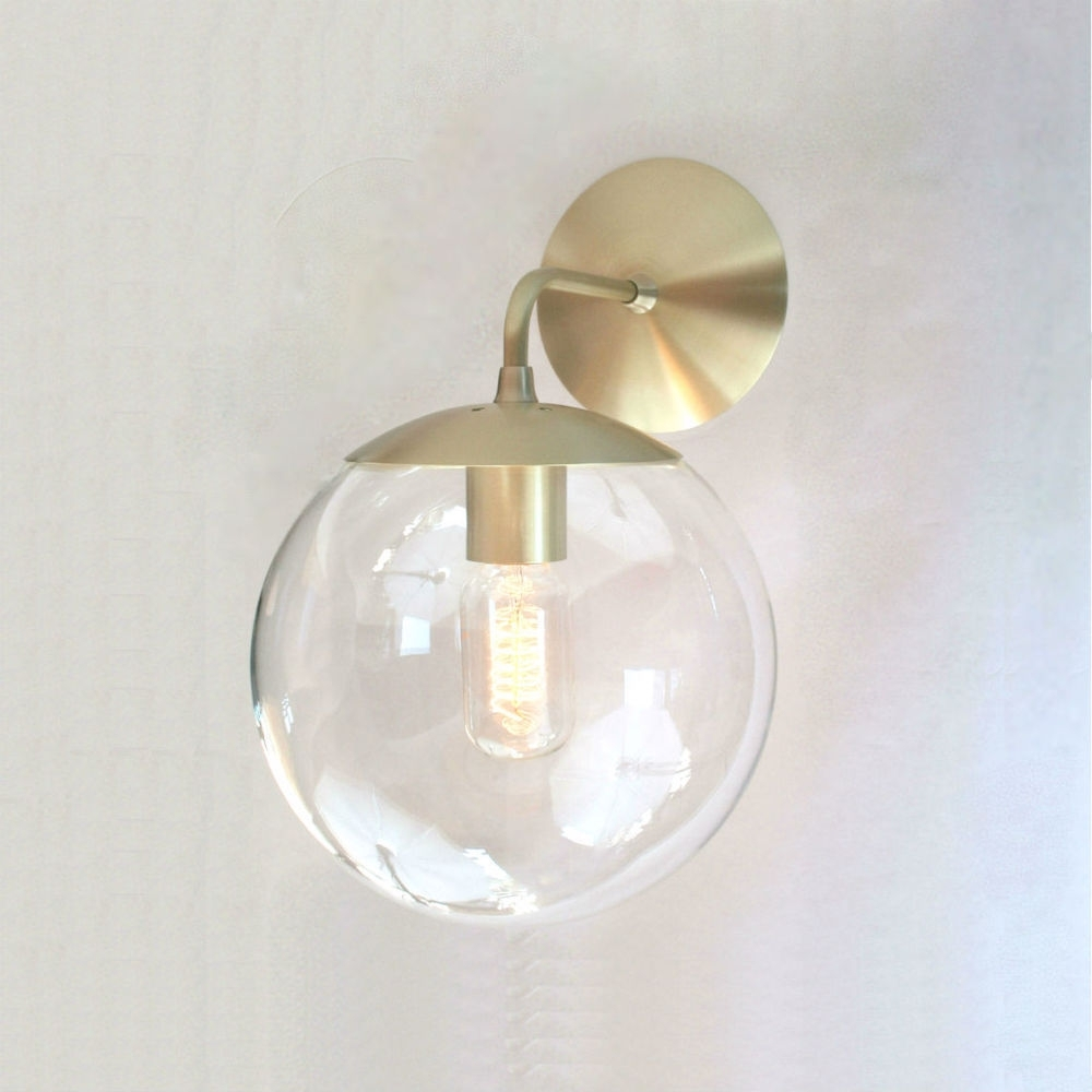 "Clear 8"" Glass Globe Mid Century Modern Wall Mount Sconce With It's With Outdoor Wall Mounted Globe Lights (#3 of 15)"