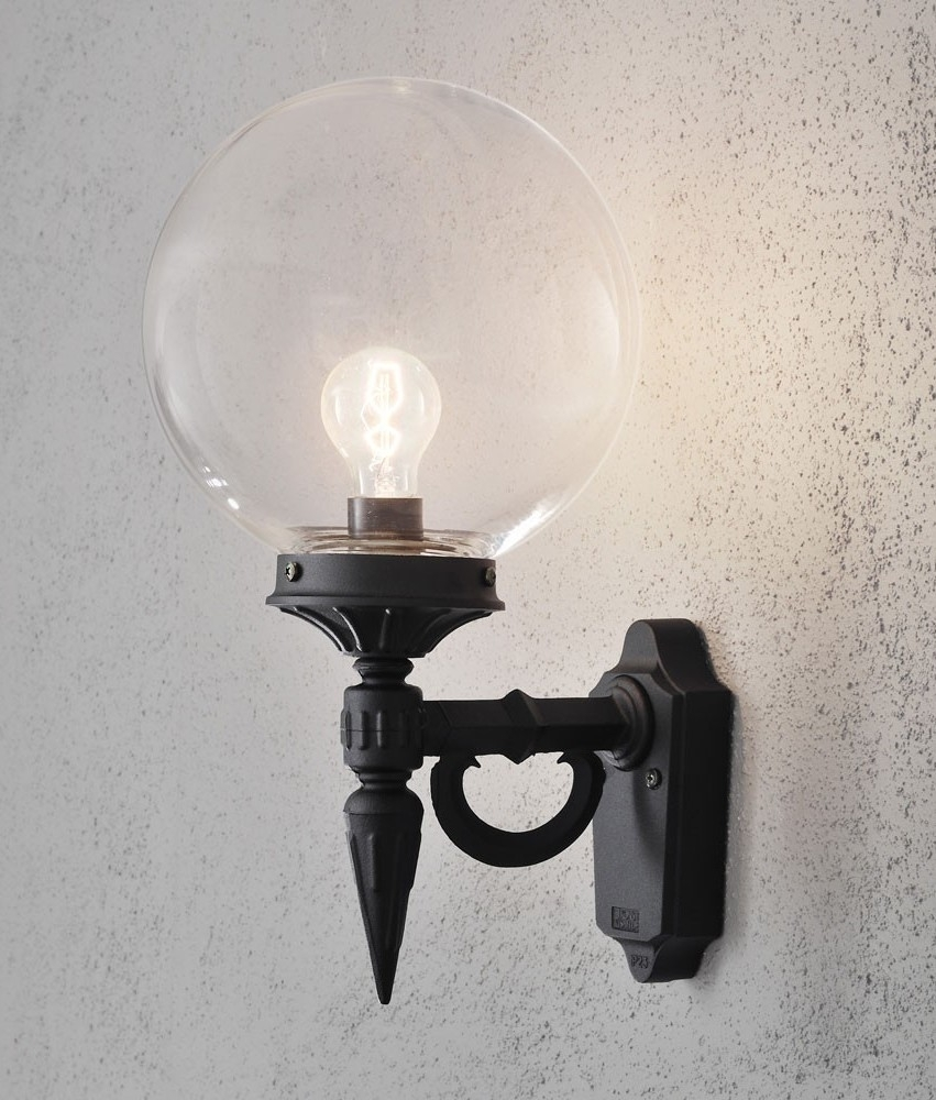 Clear Glass Globe Shade Outdoor Wall Light Inside Globe Outdoor Wall Lighting (#4 of 15)
