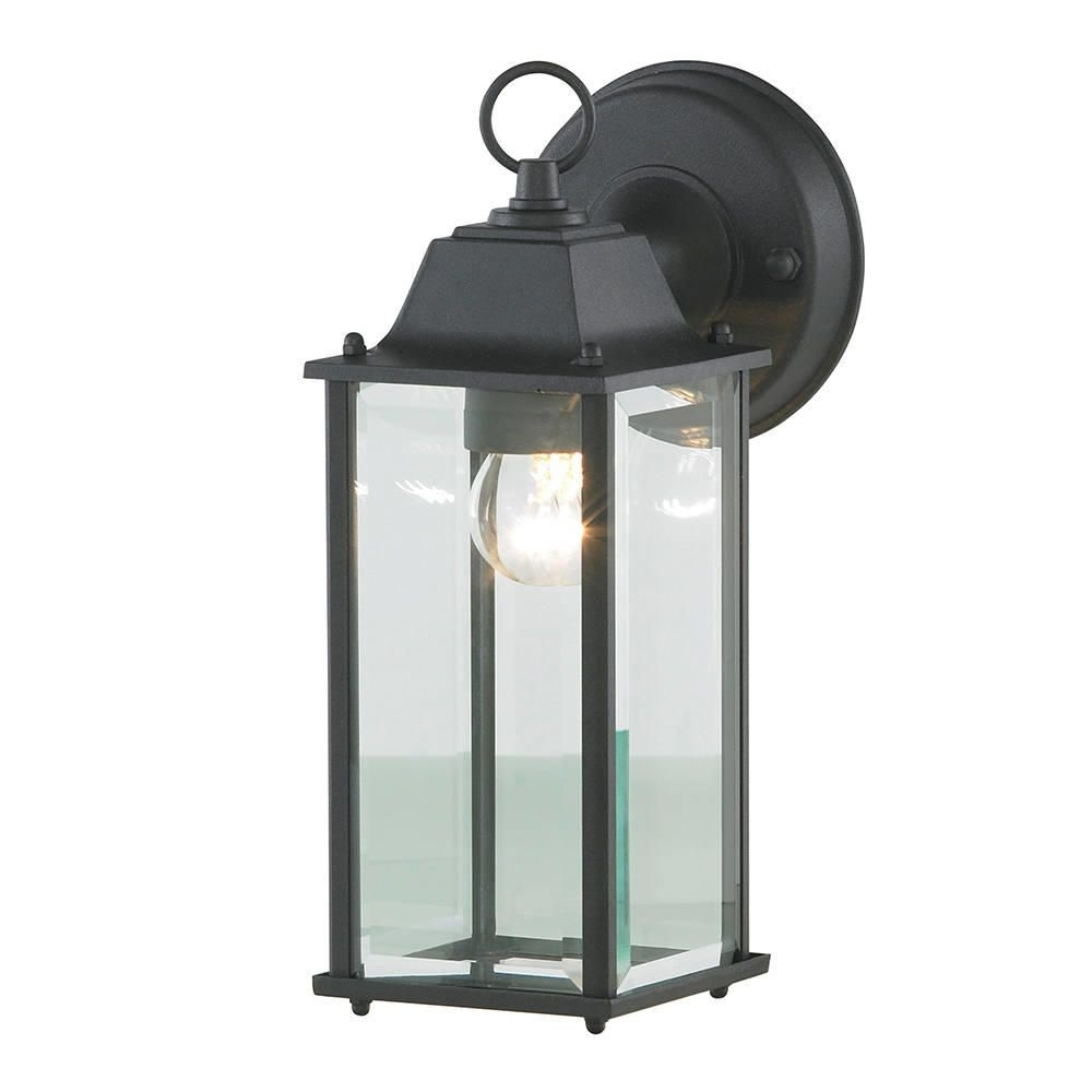 Colone Outdoor Lantern Bevelled Glass Wall Light – Black Throughout Outdoor Wall Light Glass (#4 of 15)