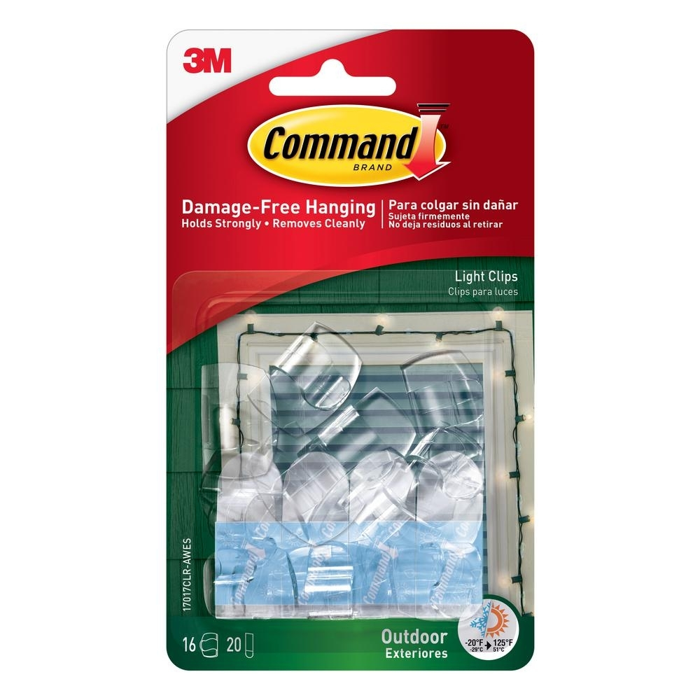 Command Clear Small Outdoor Light Clips 17017Clr Aw – The Home Depot With Outdoor Hooks For Hanging Lights (#4 of 15)