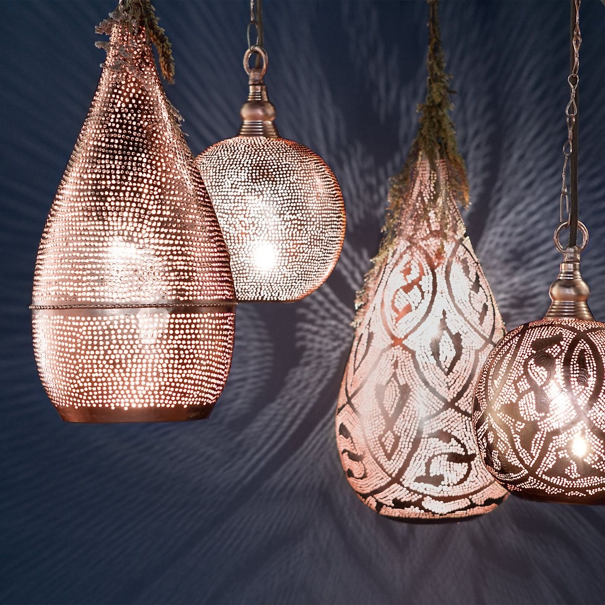 Copper Pin Dot Teardrop Pendant | Outdoor Living Furniture, Living Inside Outdoor Hanging Moroccan Lanterns (View 15 of 15)