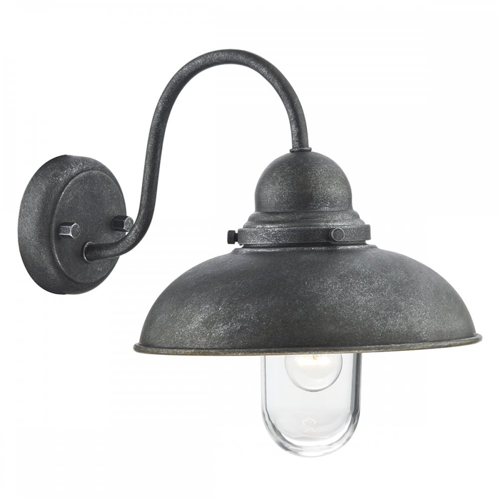 Inspiration about Dar Lighting Dynamo 1 Light Industrial Vintage Wall Light Aged Iron With Industrial Outdoor Wall Lighting (#2 of 15)