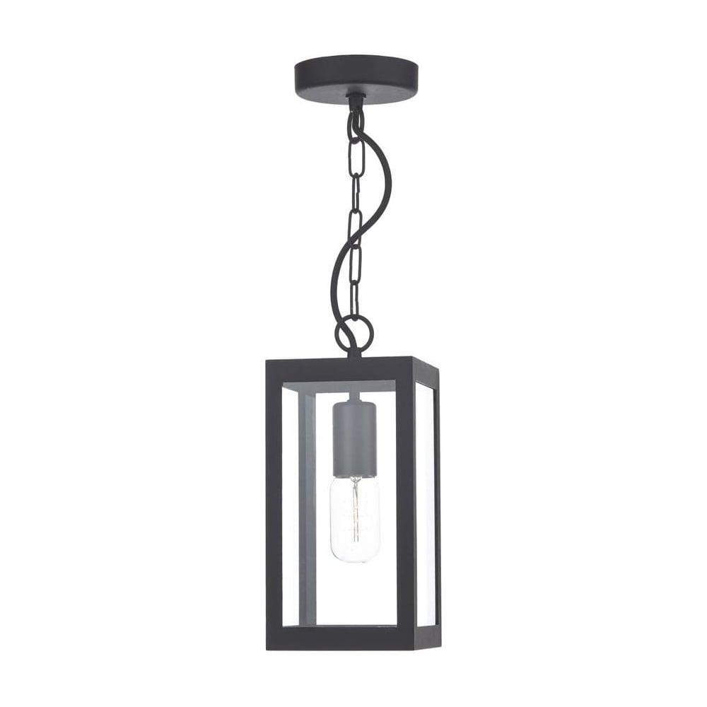 Dar Lighting Lotus 1 Light In Black Ceiling Light With Clear Glass Regarding Black Outdoor Ceiling Lights (#7 of 15)