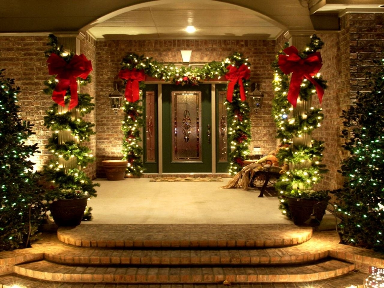 Decorations : Outstanding Front Porch Idea With Christmas Lights And With Outdoor Wall Xmas Lights (#5 of 15)